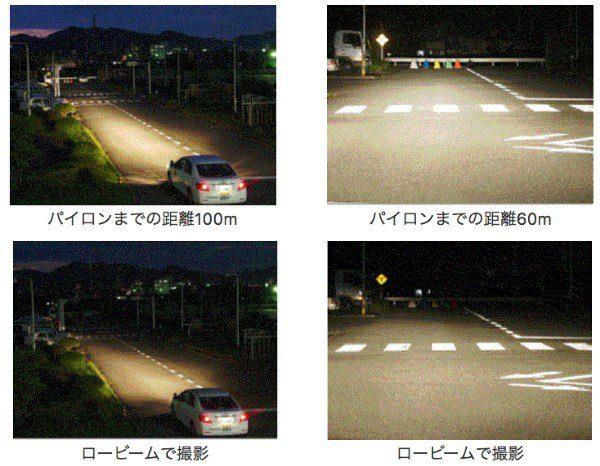 車のライトのハイビームと下向き走行のロービームで視野の違いの検証
