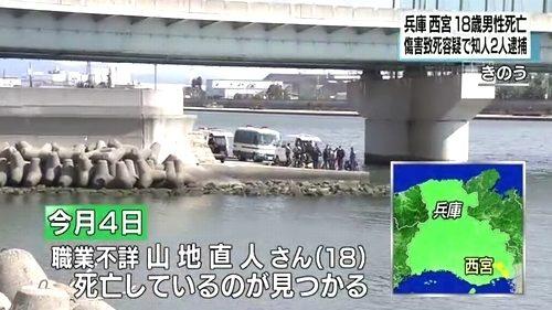 兵庫県西宮市の武庫川河口で仰向けに浮かんでいる18歳の少年遺体