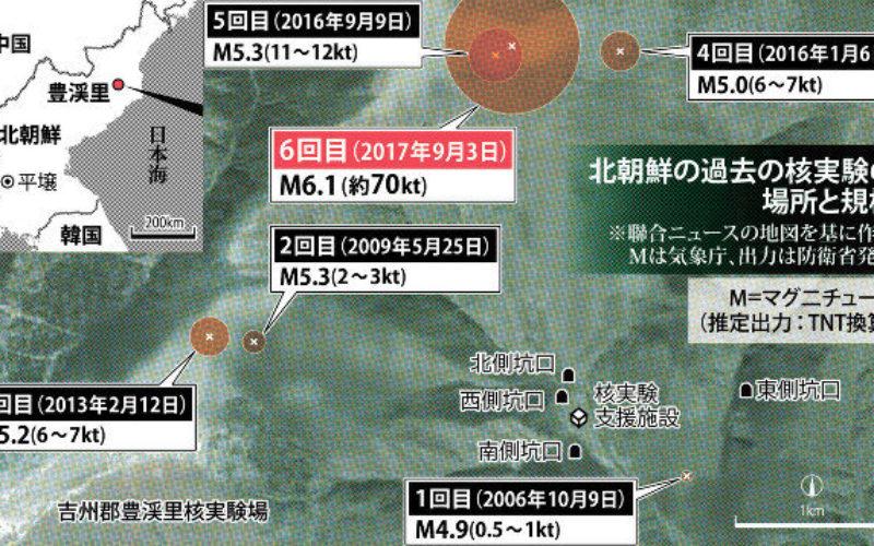 北朝鮮で爆発か地震か不明のマグネチュード3.0の揺れが観測