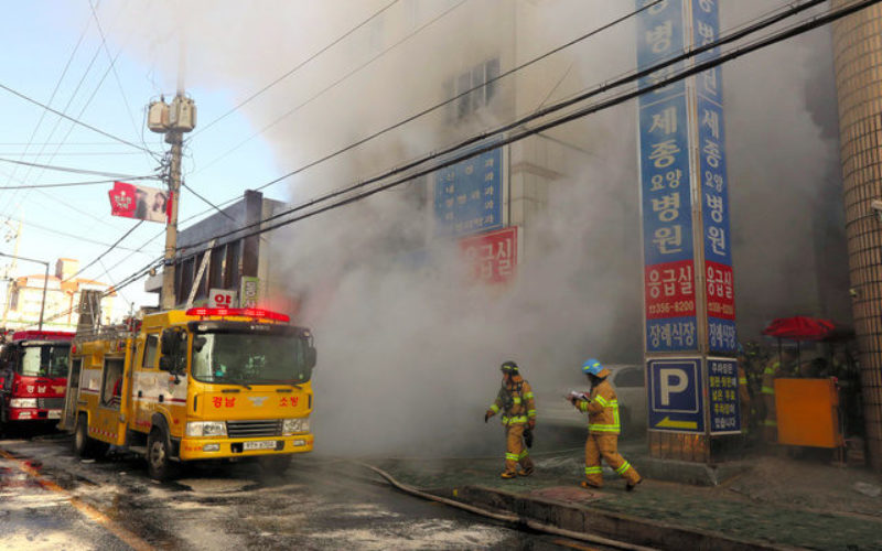 韓国で大規模な病院火災が起き37人が死亡して130人以上が重軽傷