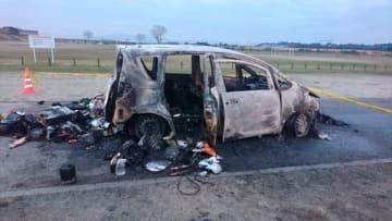 三重県鈴鹿市庄野町の鈴鹿川河川緑地で自家用車が炎上し車内から性別不明の遺体