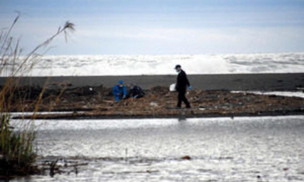 神奈川県小田原市にある酒匂川河口の砂浜に男性の遺体