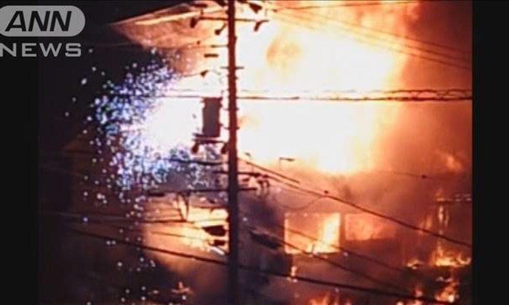 北海道白糠町にある住宅で爆発音と共に火災が発生