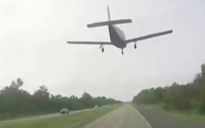 米ルイジアナ州で小型ヒコーキがエンジントラブルで高速道路に着地