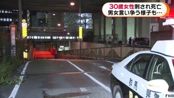 高崎駅付近にある市道に止まった車の車内に刺された女性の遺体