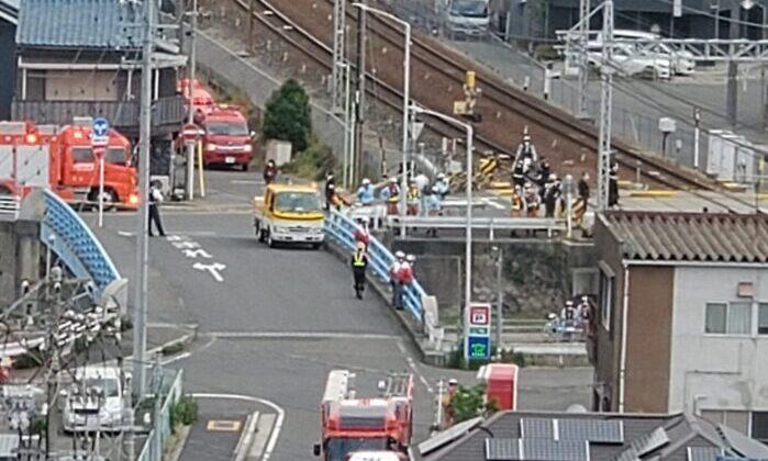 名古屋市瑞穂区にある名鉄常滑線で人身事故