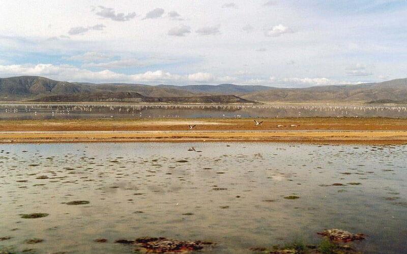 ボリビアの高地にある湖が忽然と姿を消し塩の結晶が湖底に残された光景